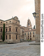Salamanca street with old houses and a church with bells in...