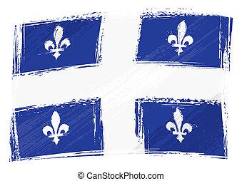 Grunge Quebec flag - Canadian province of Quebec flag...