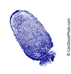 finger-print man, done on the white sheet of paper a blue...
