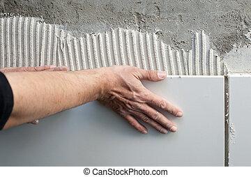 construção, pedreiro, homem, mãos,...