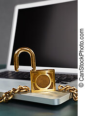 Unprotected - laptop and unlocked chain for non secure...