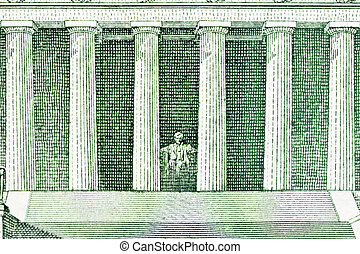 Lincoln Memorial Macro Back of US Five Dollar Bill - Lincoln...