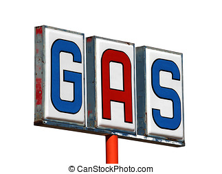 Old Mojave Desert Gas Sign Isolated