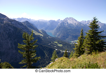 Berchtesgaden - View of Berchtesgarden with mountains in the...