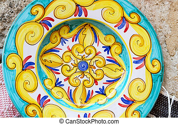 Closeup of a traditional sicilian pottery - Closeup of a...