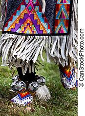 Mocassins close up - Native american dancers at a Powwow