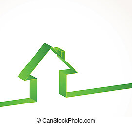 House - Bright white background with line of house