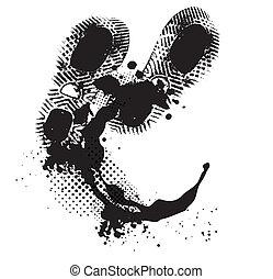 Grunge bakground - White grunge background with black ink...