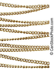 Golden chain in arrangement, isolated against white...