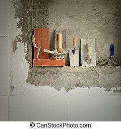 Morteiro, construção, ferramentas, cimento, pedreiro