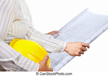 Civil engineer and partner body's part, isolated over white...
