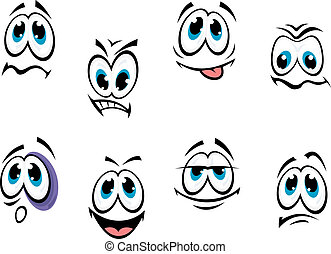 Comics faces set - Comics cartoon faces set with different...