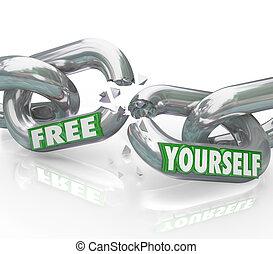 unbound, ligações, quebrar, livre, você mesmo, correntes