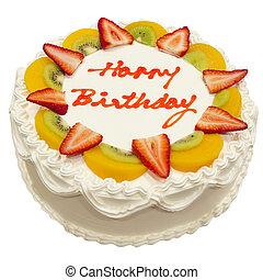 Happy Birthday Fresh Fruit Cake Isolated on White Background