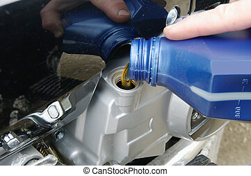 Motor oil poring - Fill oil to the engine after driving...