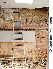 Demolição, escombros, cozinha, Interior,...