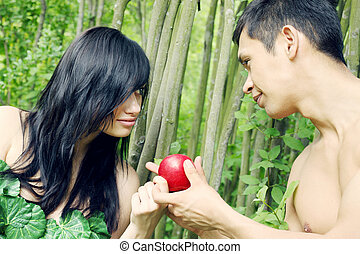 Adam, Eve and apple - Adam and Eve are going to eat an apple