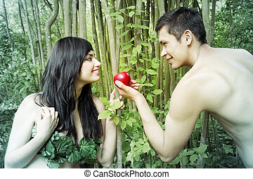 Adam, Eve - Adam and Eve are going to eat an apple