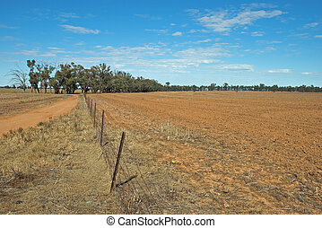 agriculture - a fence in-between 2 rural paddocks
