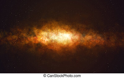 Milky way galaxy and starfield. - Milky way galaxy on black...
