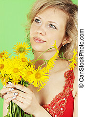 woman and yellow bouquet - A beautiful woman with a bouquet...
