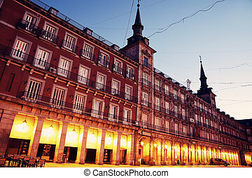 Night at Plaza Mayor, Madrid, Spain