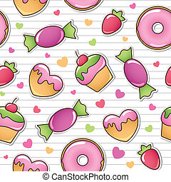 seamless pattern with sweets, vector eps 8