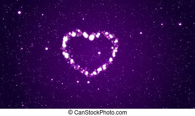 Flying rotating hearts - Background with hearts