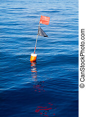 Longliner and trammel net buoy with flag pole
