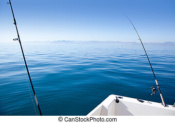 boat fishing rod in mediterranean blue sea