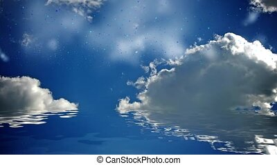 Water and clouds - Clouds on a blue background