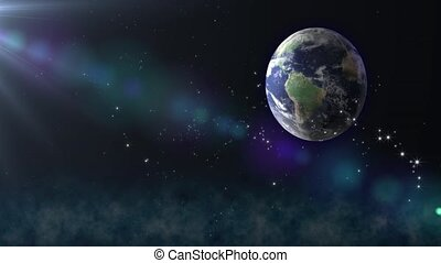 Earth with flying stars