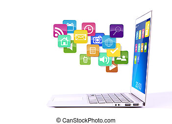 Laptop with colorful application icons isolated on white background