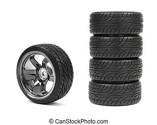 Sports Rims - Rubber tyres with sports rims on a white...