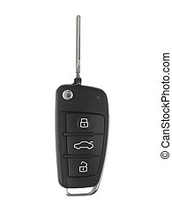 Sports Car Key - A toy sports car key isolated against a...