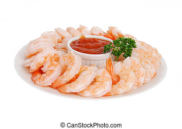 Plate of shrimp cocktail - A plate of shrimp prawns with...