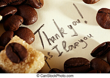 Coffee beans, thank you - Coffee beans on yellowish vintage...