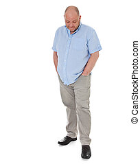 Elderly man looking to the floor. All isolated on white...