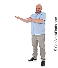 Elderly man pointing to the side