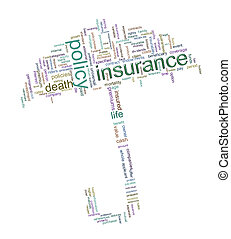 Insurance word tags - Illustration of umbrella made up of...