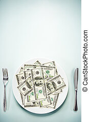 Dollar on the plate