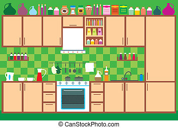 Kitchen furniture Interior - Vector illustration, color full...
