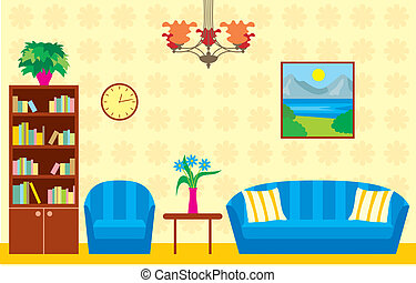 Living room - Vector illustration, color full