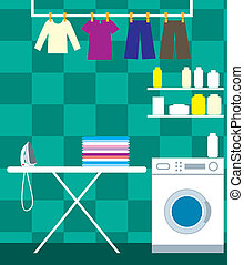 Washing room - Vector illustration, color full