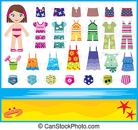 Paper doll with summer set of cloth