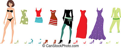 Young beautiful paper dolls - Vector illustration, color...