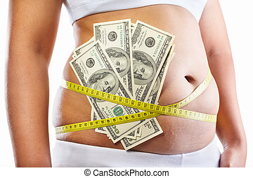 Expensive diet program - Overweight female stomach strapped...