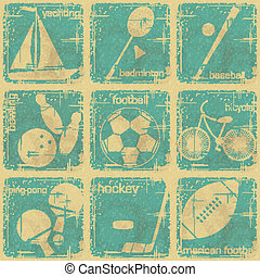 set of vintage sport labels