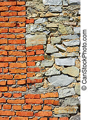 Wall with brick and stone