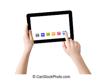 Hands with Tablet PC and apps - Two hands with Tablet PC,...